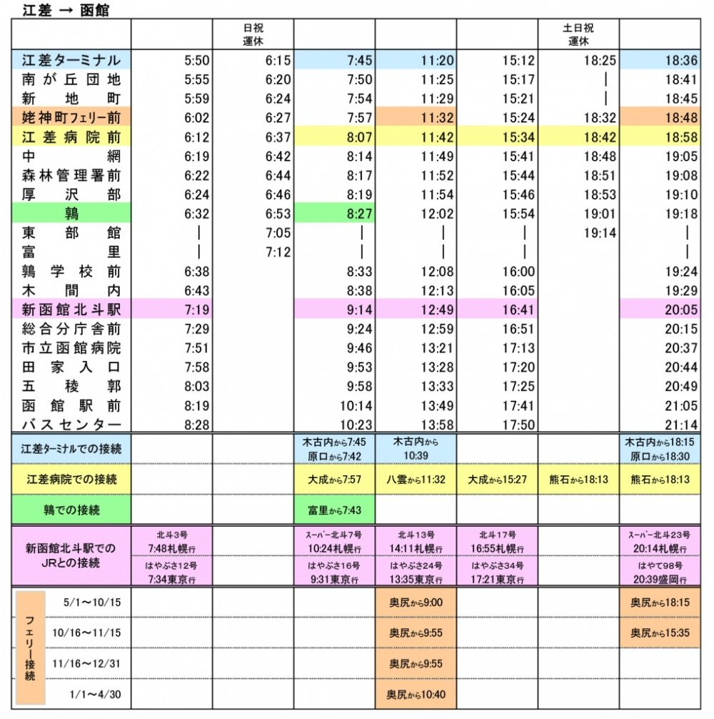 バス時刻表(江差⇒函館)2018年11月1日改正