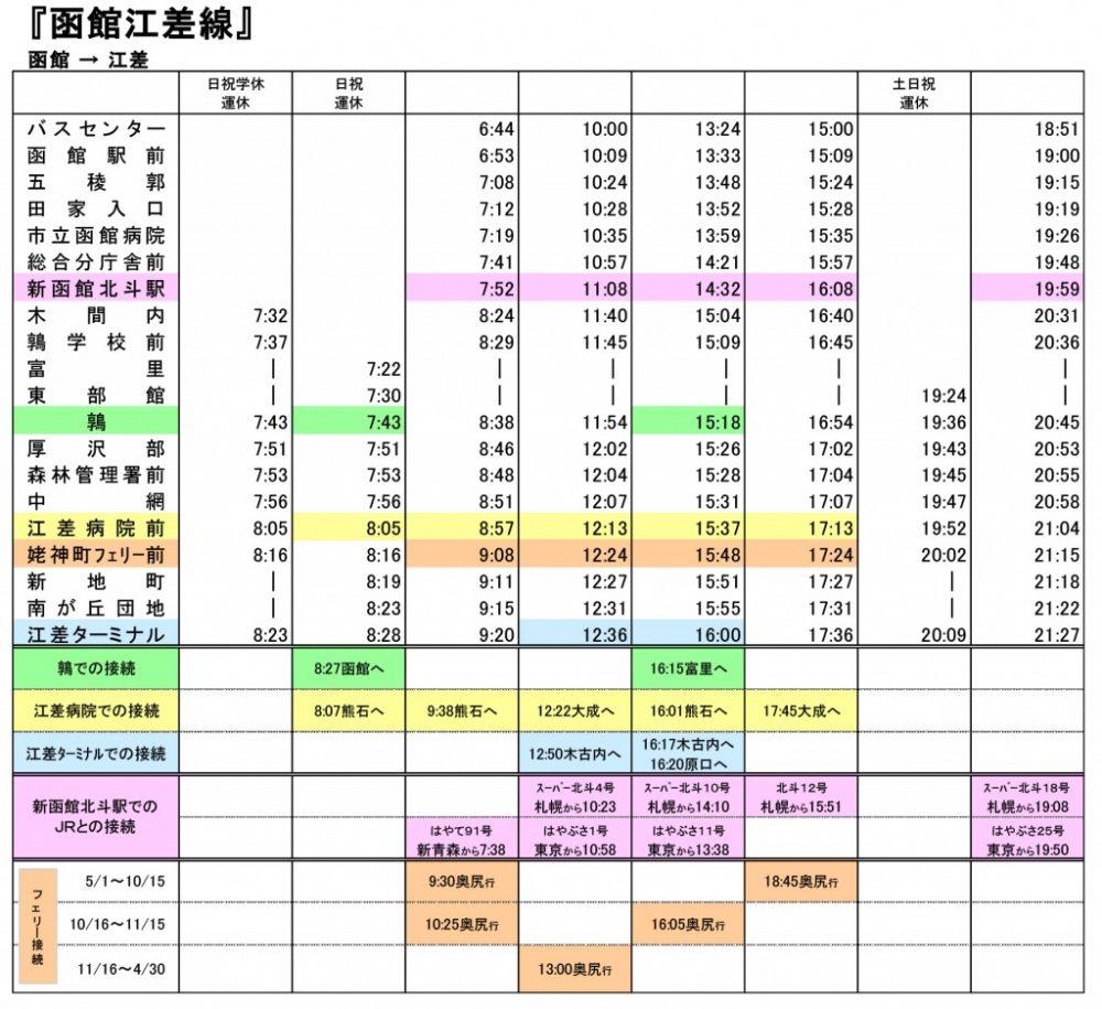 バス時刻表(函館⇒江差)2018年11月1日改正