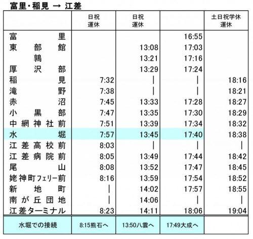バス時刻表(稲見、冨里⇒江差)2018年11月1日改正
